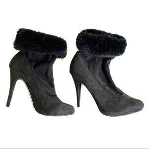 Kardashian kollection booties fur trimmed